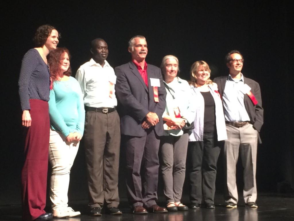 Peter (third from left) was recently presented with a Building Blocks Award for his volunteer work.