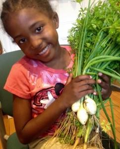 child and veggies