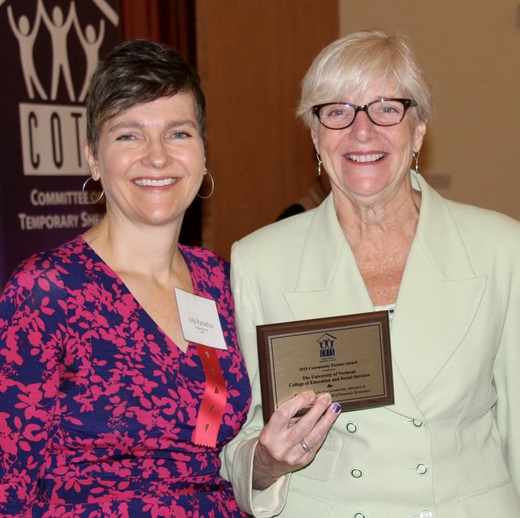 COTS Program Director Julia Paradiso with Ann Pugh of UVM School of Social Work