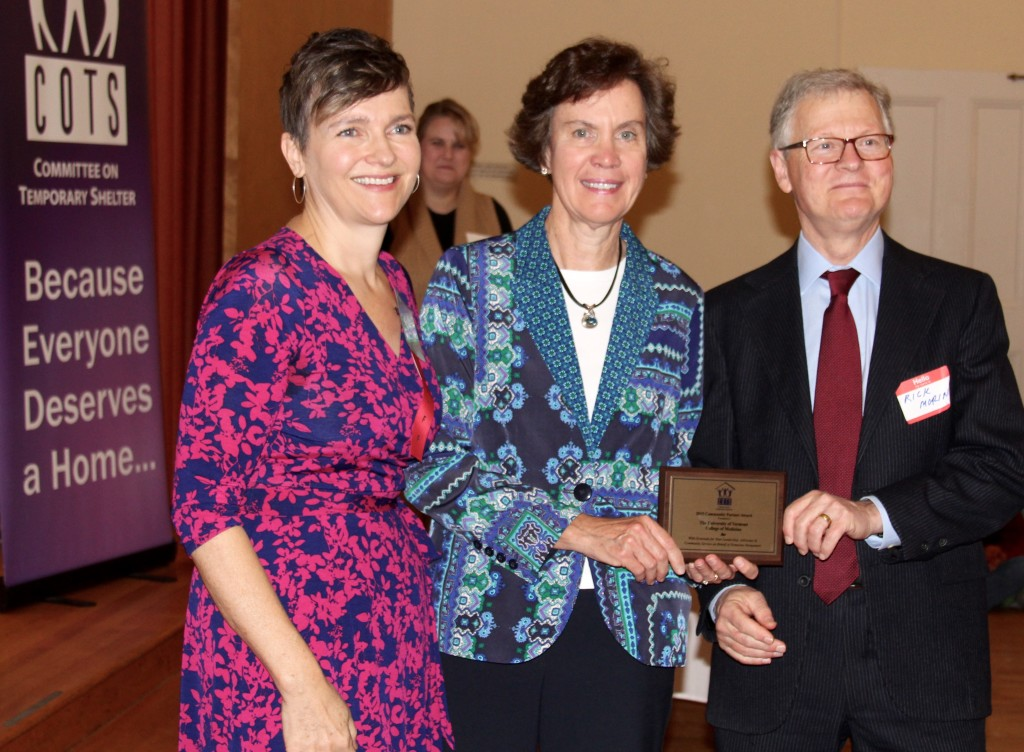 COTS Program Director Julia Paradiso with Jan Carney, MD, and Dean Rick Morin, MD, of the College of Medicine