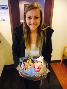 The University of Vermont Tri-Delta sorority delivered a bunch of origami butterflies to help us reach our goal.